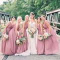 Simples Rosa Escuro Longo de dama de Honra Pura Plus Size Médio Oriente rússia Grego Double V vestido de Casamento As Mulheres Se Vestem de Mulheres Elegantes Formais vestido