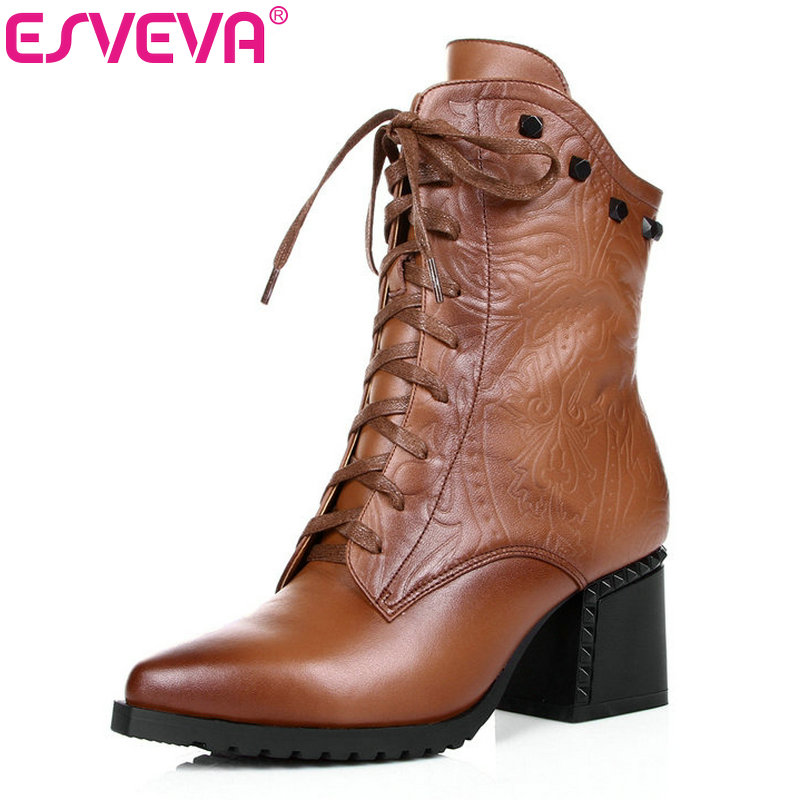 ESVEVA Cool Lace Up Square High Heel Woman PU+Genuine Leather Ankle Boots Zipper Women Shoes Ladies Motorcycle Boots Size 34-42 vinlle women boot square low heel pu leather rivets zipper solid ankle boots western style round lady motorcycle boot size 34 43