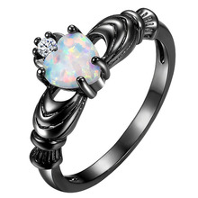 1PC Fashion Women Heart Stone Ring Black White Color Jewelry Rings Wedding Engagement Ring