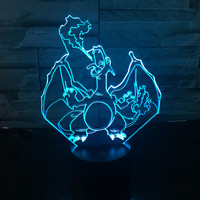 Led Toys Pokemon Action Figures Carte Pokemon Cards 3D Table Lamp Pikachu Eevee Charmander Charizard Squirtle