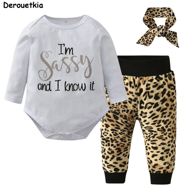 90c5e6d4 Sassy Baby Girl Clothes Long Sleeved Letter Tops + Leopard Pants + Headband  Kids 3pcs Suit Newborn Baby Girls Clothing Set