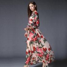 فستان شيفون أنيق مطبوع بأزهار رائعة بأكمام طويلة