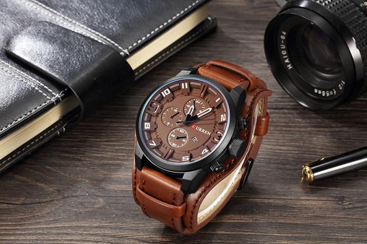 HTB1YX 6cBWD3KVjSZKPq6yp7FXaX CURREN Top Brand Luxury Mens Watches Male Clocks Date Sport Military Clock Leather Strap Quartz Business Men Watch Gift 8225