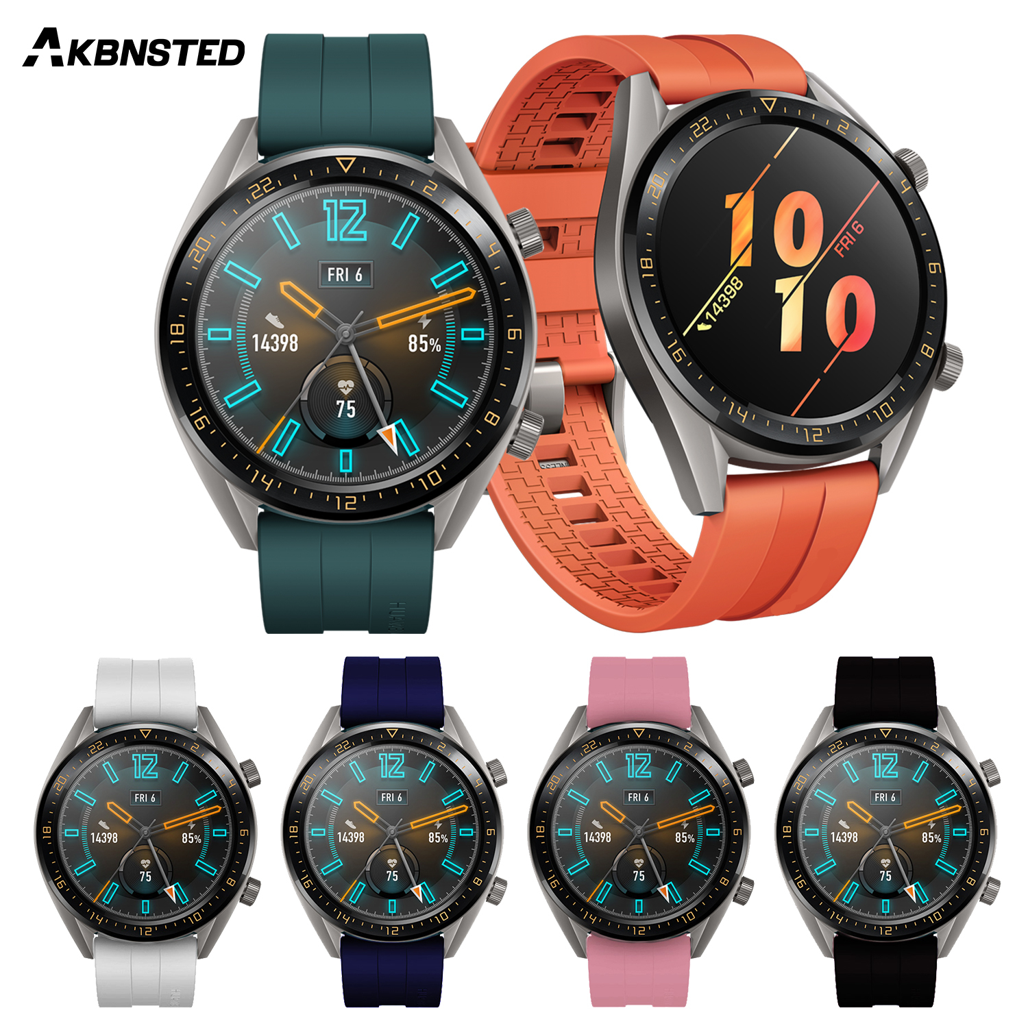 AKBNSTED 22mm Replacement Soft Silicone Watch Strap For Huami Amazfit Stratos 3/Huawei Watch GT2 Wristband Smart Sports Watch