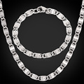 New Hot 316L Titanium Stainless Steel NEVER FADE Chunky Chains Necklace Bracelets For Men Cool Jewelry  Sets 6MM 55CM MGC GNH202