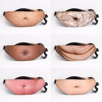 Men Women Fashion Dad Bod Bag Funny Flesh Color Fat Beer Belly Pocket Waist Bags Case