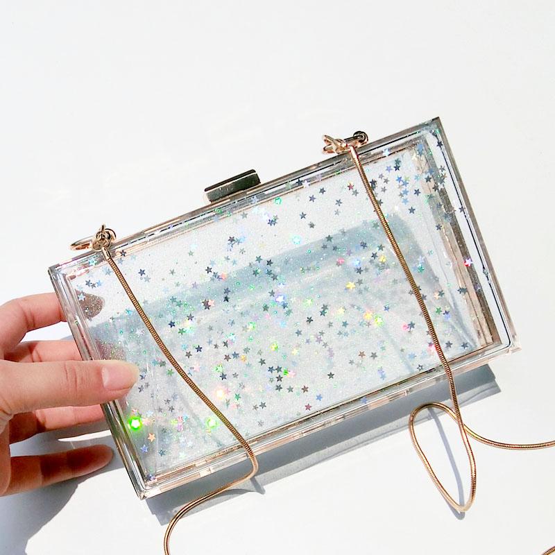 Women Original design acrylic bag transparent bag snowflake chiffon handbag colorful star hand holding small bags