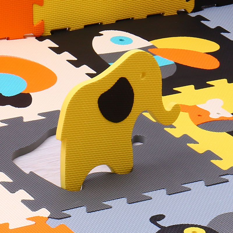 Puzzle Play Mat For Kids Quality Cartoon Animal Pattern Solid Color Eva Foam Game Pad Baby Toddler Bedroom Safety Gym Cushion