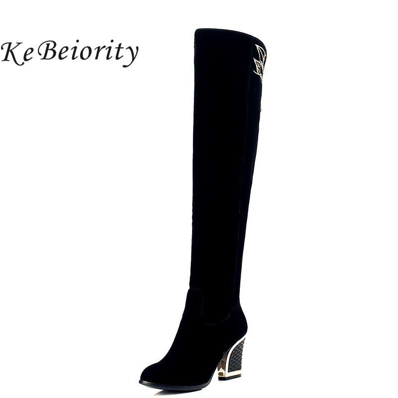 KEBEIORITY 2018 Fashion Over-the-knee Thick High Heels Women High Boots Autumn Winter Sexy Boots Ladies Long Snow Boots Shoes hot sale fashion long boots for women nubuck leather sexy high heels over the knee boots shoes ladies platform boots cn a0012