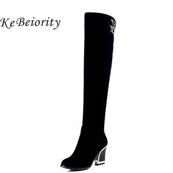 Kebeiority 2018 moda sobre la rodilla gruesa Tacones altos altos Tacones mujeres 7357ed