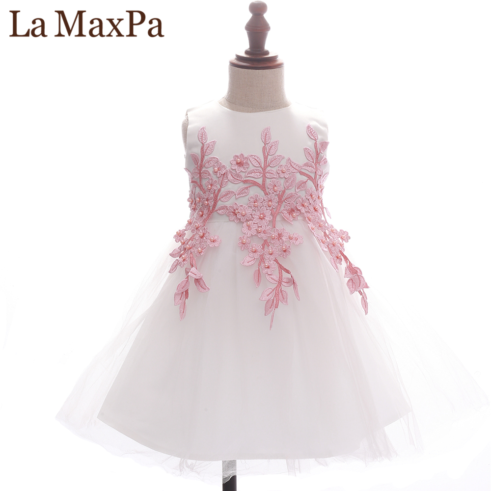 La MaxPa Brand Girl Princess Dress Flower Girl Ceremony Embroidery Printing Dress Sleeveless Round Neck Ball Gown New Fashion fashionable round neck sleeveless floral print bowknot embellish dress for girl