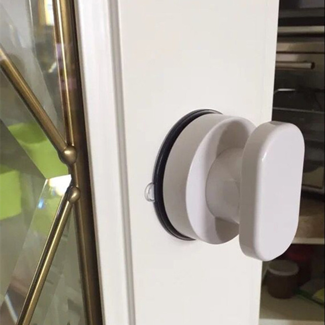 Suction Door Handle Wall Mounted Drawer Cabinet Kitchen Glass Doors