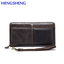 Hengsheng promotion genuine leather wallet for fashion men hand wallet by quality cow leather men long wallets and men handbags