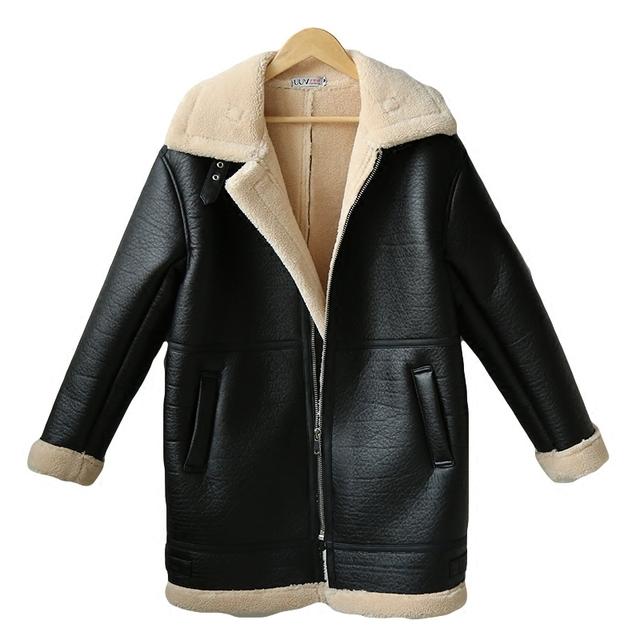Faux Sheepskin Shearling Coat Winter Women Fur Long Lamb Thick Long Sleeve Warm 2017 Beige Black Biker Sheepskin Coats AS3708
