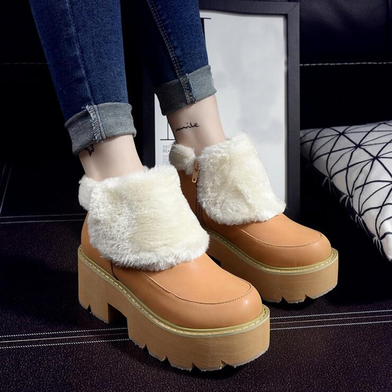 ФОТО 2017 New Winter Heavy-bottomed Plush Women Boots Round Muffin Female Ankle Boots Shoes Platform Black Brown Women Boots XP25