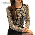 Plus Size S-XXL New Arrival Elegant Women Blusas Korean Vintage Female Shirt Long Sleeve Black Lace Chiffon Blouse Women Clothes