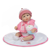 40 센치메터 실리콘 태어날 아기 인형 모자 사랑스러운 Brinquedos 여자 비닐 현실적인 신생아 인형 집 교육 장난