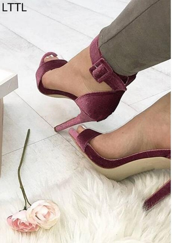 LTTL Sexy Women High Heels Wide Buckle Ankle Strap and Stiletto Heel Wedding Party Shoes Summer Velvet Designer Sandals Woman wholesale lttl new spring summer high heels shoes stiletto heel flock pointed toe sandals fashion ankle straps women party shoes