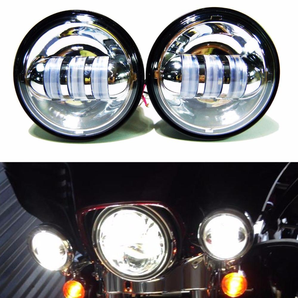 2pcs chrome 4 5 led auxiliary spot fog 4 1 2 headlight motorcycle fog lights for harley 30w 4 5 harley fog lamp for harley