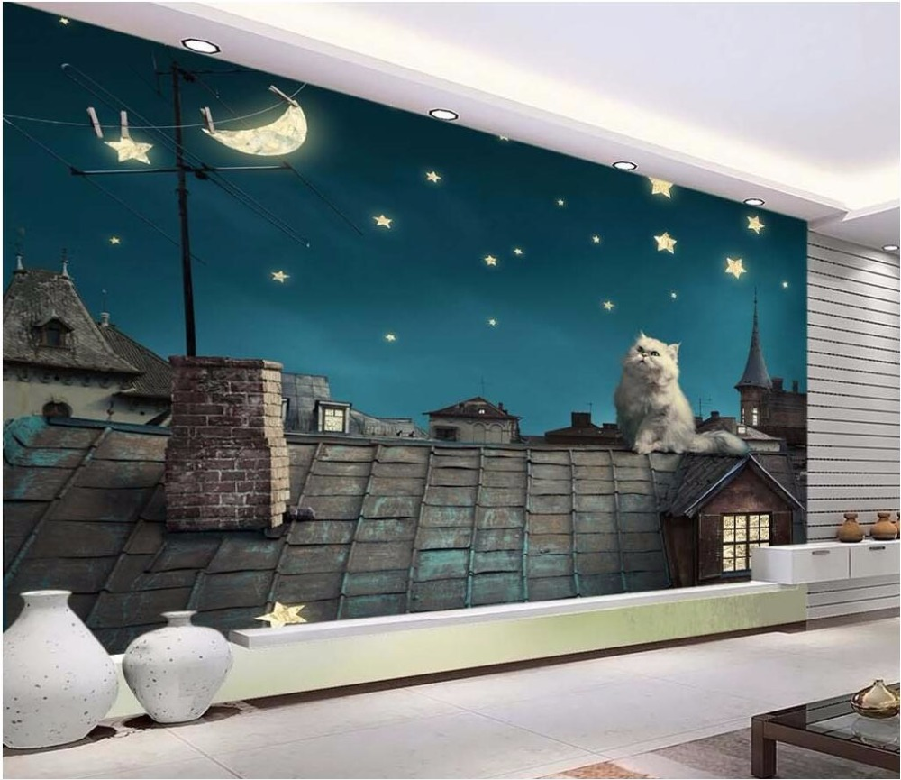 online get cheap cat wall paper aliexpress com alibaba group custom photo 3d wallpaper under the starry sky roof cat painting wall papers home decor 3d wall murals wallpaper for living room
