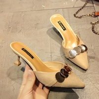 2018 New Women S Shoes European And American High Heeled Slippers Female Summer Fashion Outdoor Pointed