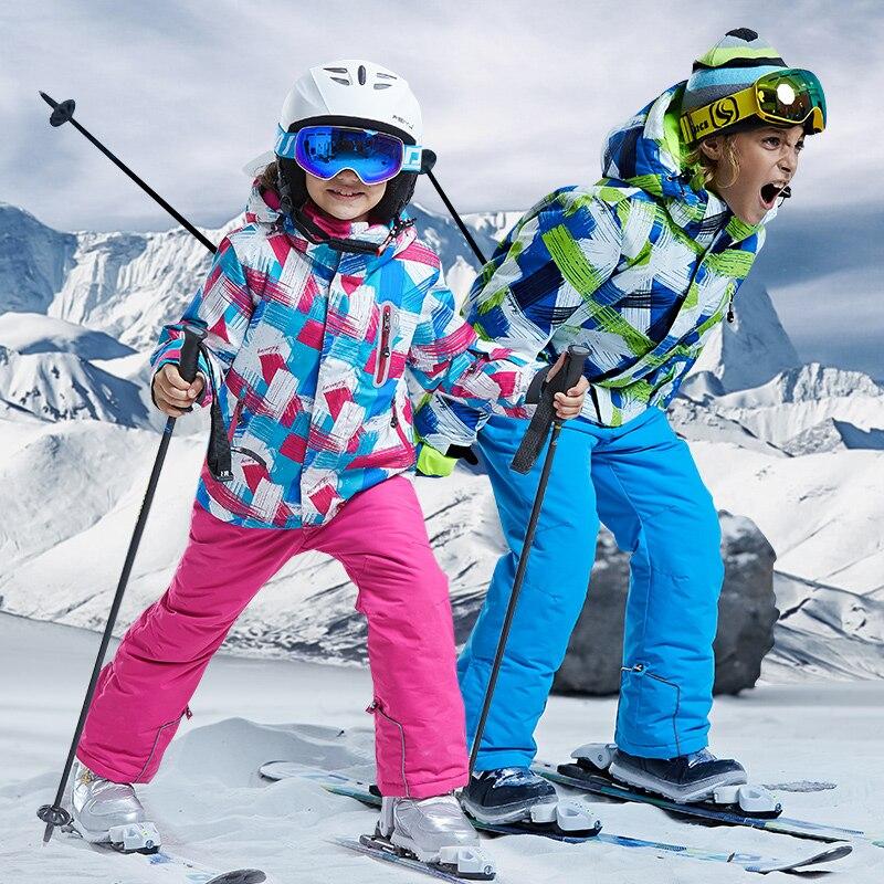 -30 Gradi Bambini Giacca Da Sci E Pantaloni Delle Ragazze Tute Da Neve Da Neve Cappotto E Pantaloni Dei Bambini Dei Pantaloni Snowboard Pantaloni E Giacca Tute Da Neve Perfetto Nella Lavorazione