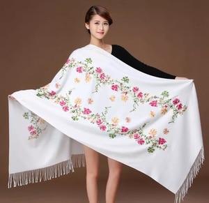Image 5 - New embroidery Flowers scarf women Cashmere cotton viscose shawls soild plain embroider scarfs muslim tassels hijabs GP02