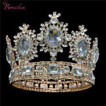 9.5cm Tall Luxury Royal Wedding Bridal Tiara Gold Color Big Rhinestone Queen Pageant Prom Tiaras Full Crown RE3045 цена 2017