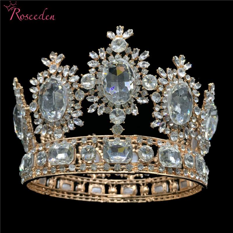 9.5cm Tall Luxury Royal Wedding Bridal Tiara Gold Color Big Rhinestone Queen Pageant Prom Tiaras Full Crown RE3045
