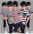Moda 2016 Meninos conjuntos de Roupas versão Coreana curto-de mangas compridas crianças terno tarja T-shirt + calças twinset algodão conjunto casuais no verão
