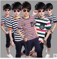 Moda 2016 Niños versión Coreana Ropa conjuntos niños de manga corta traje de camiseta a rayas + pantalones twinset de algodón sistema ocasional en verano