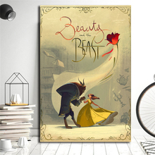 Movie Beauty And The Beast Vintage Wall Art Canvas Posters Prints Painting Wall Pictures For Modern Bedroom Home Decor Framework beauty beast movie wallpaper wall art canvas posters prints oil painting wall pictures for bedroom modern home decor accessories