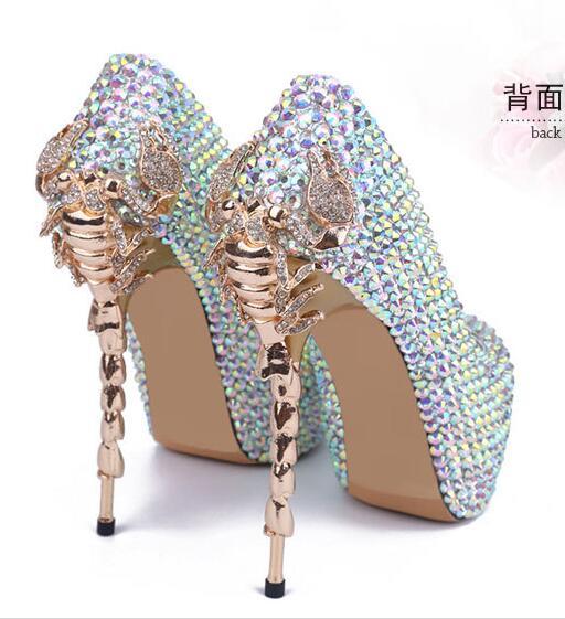 Qualité supérieure fabriqué à la main femme cristal 15 CM Scorpion talon haute chaussures à plateforme femme Scorpion Or Talon chaussures à plateforme de mariage