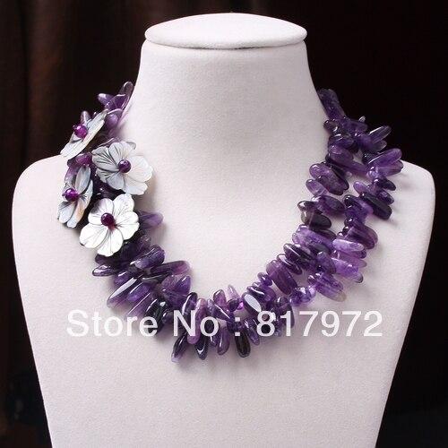 Élégant violet cristal Handmake tricot incrustation coquillage perles fleur collier femme mode fête & 6N0085