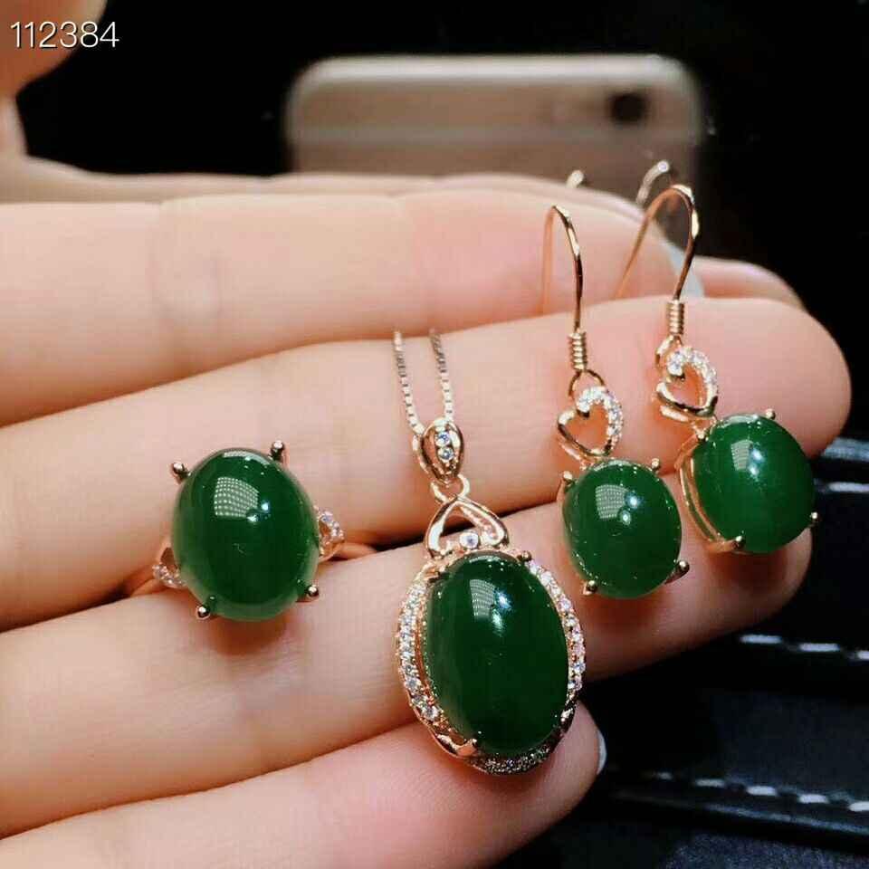 MeiBaPJ Clássico Conjunto de Jóias Real 925 Sterling Silver Gemstone Natural Nephrite Jade 3 Peças Siut Fine Jewelry para Mulheres