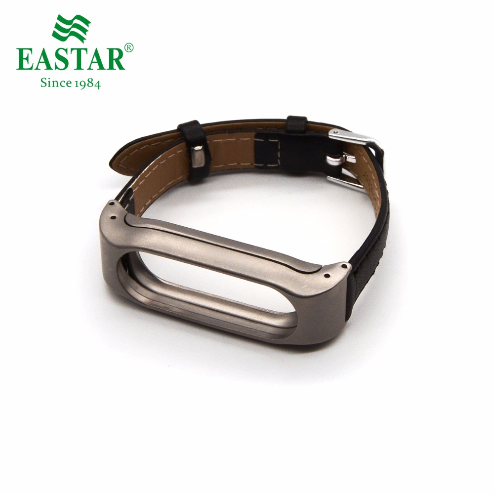 Eastar Smart Watch Accessories Leather Strap For XiaoMI Band Leather Bracelet Black Replace Wristbands Metal Strap For Mi Band 2Eastar Smart Watch Accessories Leather Strap For XiaoMI Band Leather Bracelet Black Replace Wristbands Metal Strap For Mi Band 2