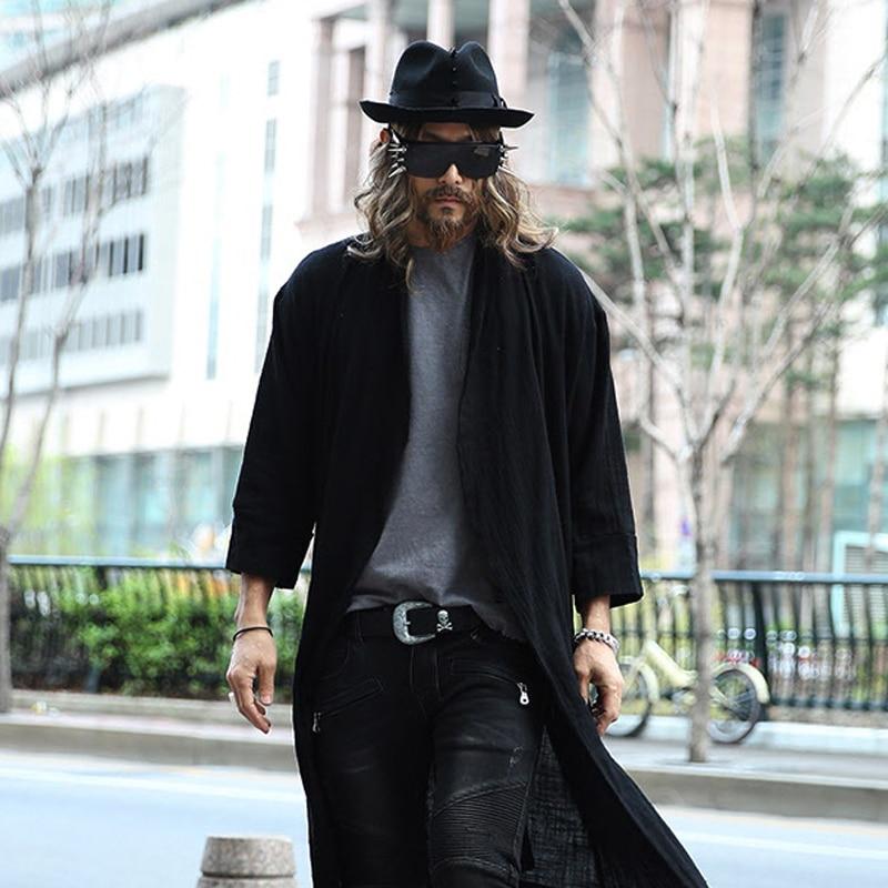 Medium-long linen cloak male thin cardigan mantissas men's clothing outerwear slim trench