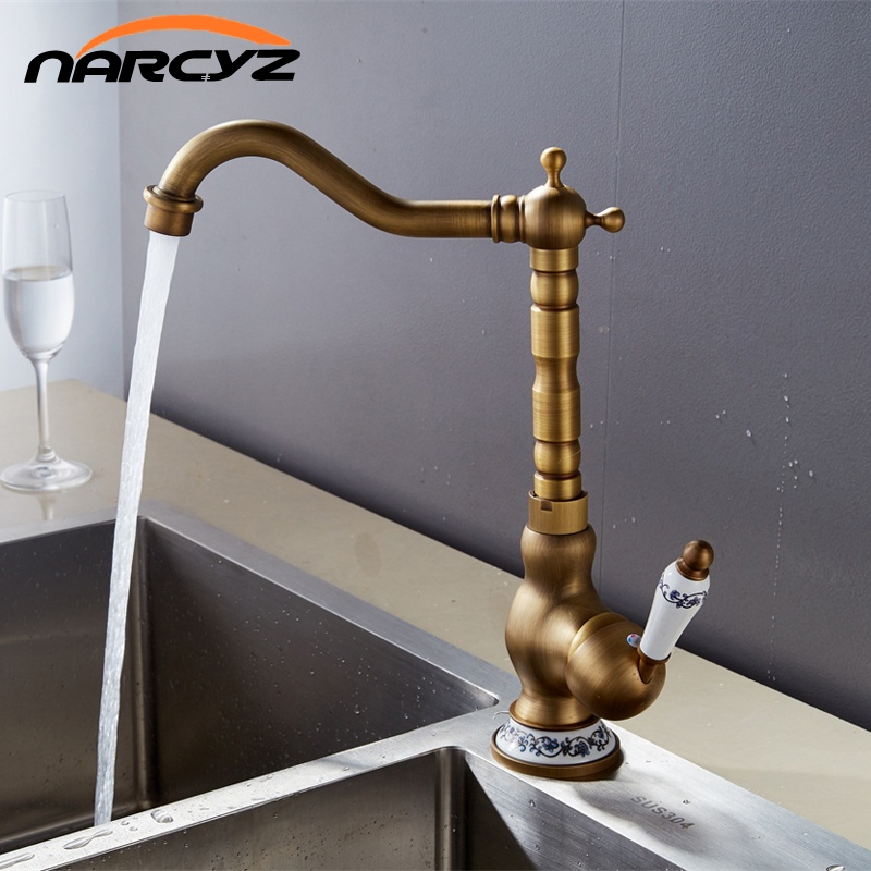 цена на New Style Basin Faucets Antique Bathroom Sink Mixer Deck Mounted Single Handle WC Bathroom Faucet Brass Hot and Cold Tap AC8101
