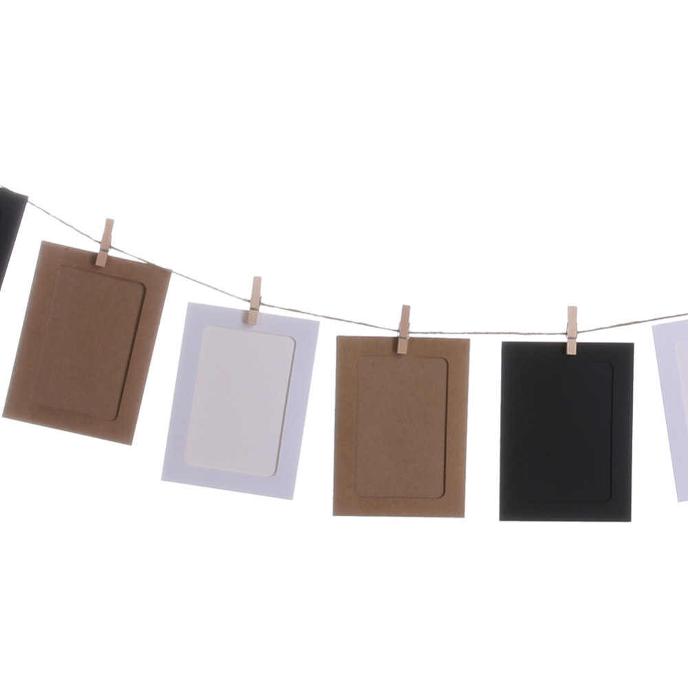 10pcs DIY Kraft Paper Photo Frame 3 inch Hanging Wall Photos Picture Frame Kraft Paper With Clips and Rope For Family Memory