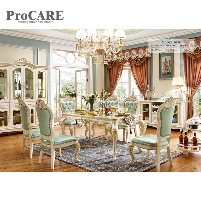 Latest Marble Top Wooden Base Dining Table Designs 913