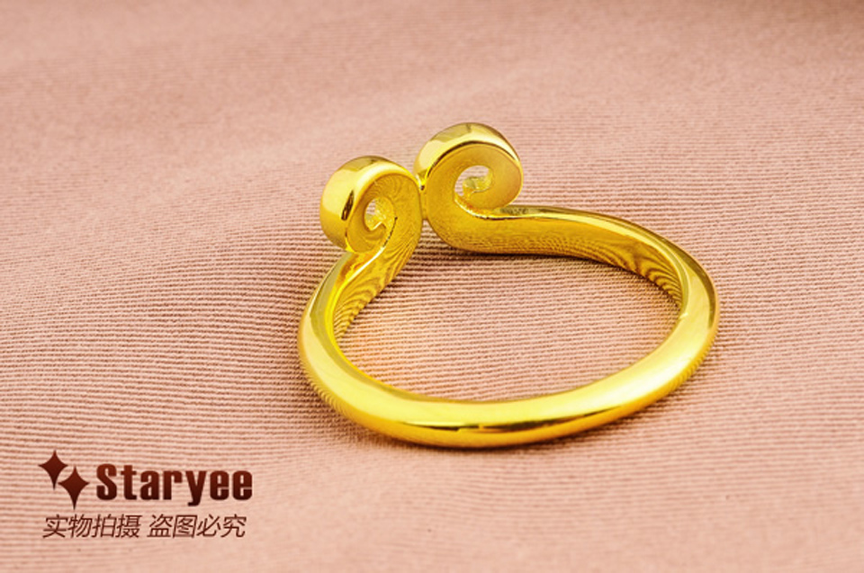 Jewelry & Accessories Rings Genuine 18k Solid Yellow Gold Sun Wukong Monkey King Golden Rod Lovely Myth Vintage Couples Rings For Women Men Gift Jewerly