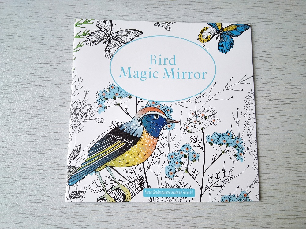 English edition bird magic mirror 24 pages coloring book for Mirror books