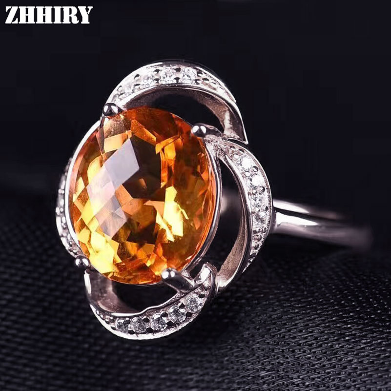 ZHHIRY Real Natural Citrine 925 Sterling Silver Rings For Women Genuine Gem Fine Jewelry Ring Stone 8*10mm