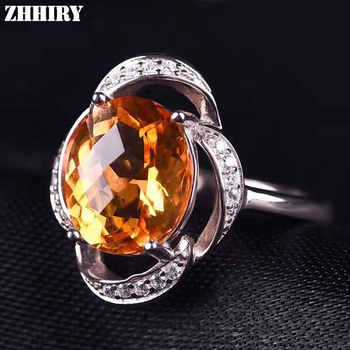 ZHHIRY Real Natural Citrine 925 Sterling Silver Rings For Women Genuine Gem Fine Jewelry Ring Stone 8*10mm - DISCOUNT ITEM  35% OFF All Category
