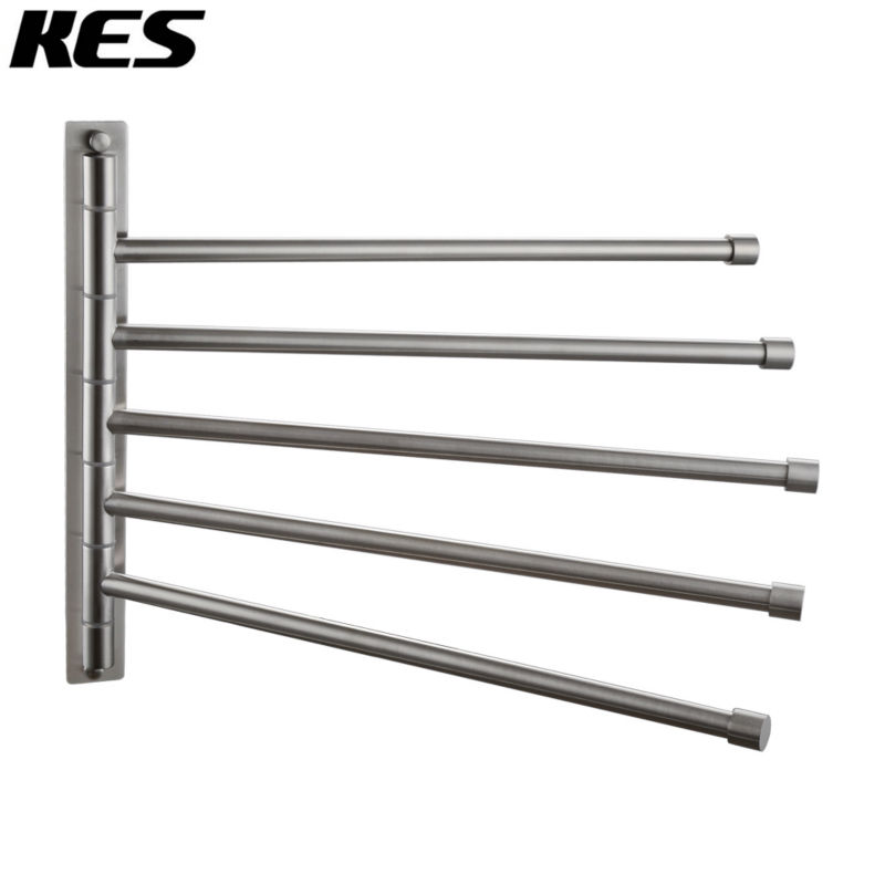 Kes Stainless Steel Swing Out Towel Bar 5 Bar Folding Arm