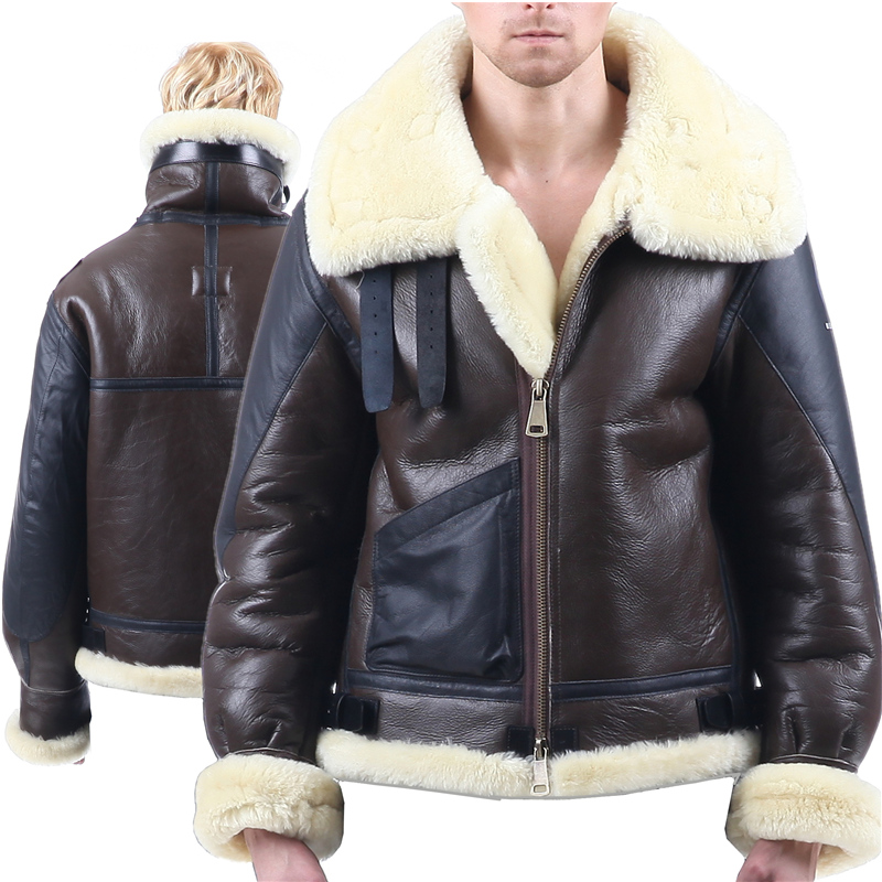 B3 shearling Bomber Fur military pilot World II Flying aviation air Leather jacket Environmental protection of leather Men women