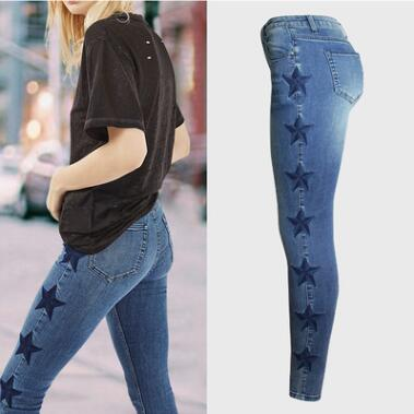 2018 New Women Fashion Solid Color Warm Middle Waist Pencil Pants Female Embroidery Jeans Plus Size Slim Trousers