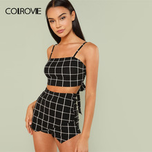 7393b689de8c0 COLROVIE Grid Crop Back Tie Cami Top & Shorts Set 2018 New Plaid Summer  Spaghetti Strap Clothing Set Stretchy Sexy Two Piece Set