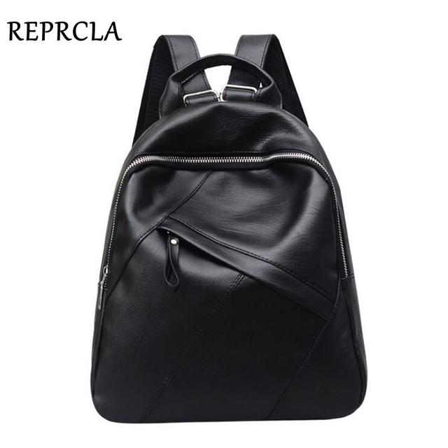 REPRCLA Fashion High Quality Backpack Women PU Leather School Bags for Teenage Girls Large Bagpack Casual Backpacks Mochila