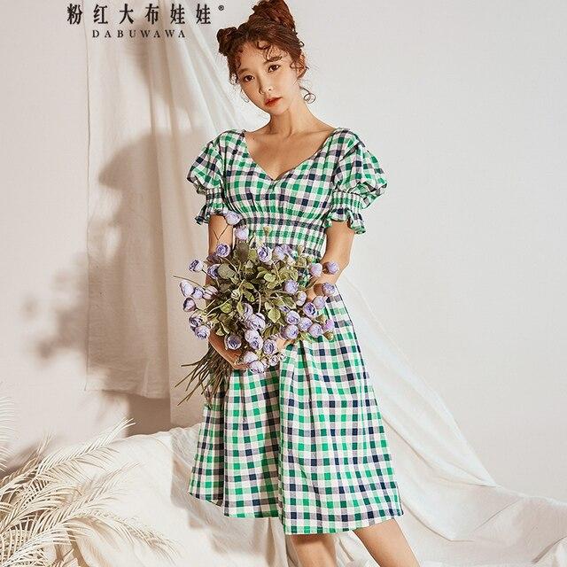 original brand robe femme ete 2018 vintage plaid puff sleeve big elastic waist fashion long summer dress women wholesale
